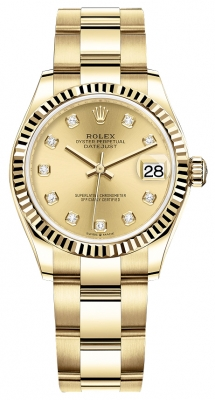 Rolex Datejust 31mm Yellow Gold 278278 Champagne Diamond Oyster