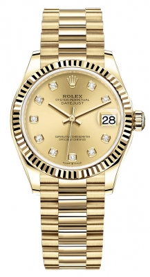 Rolex Datejust 31mm Yellow Gold 278278 Champagne Diamond President