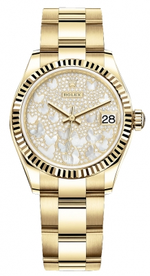 Rolex Datejust 31mm Yellow Gold 278278 Diamond Pave Oyster