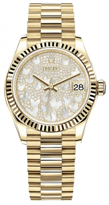 Rolex Datejust 31mm Yellow Gold 278278 Diamond Pave President