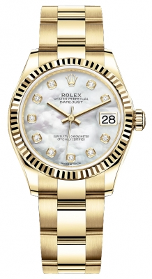 Rolex Datejust 31mm Yellow Gold 278278 MOP Diamond Oyster
