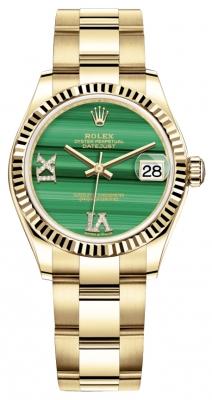 Rolex Datejust 31mm Yellow Gold 278278 Malachite Diamond Oyster