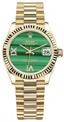 Rolex Datejust 31mm Yellow Gold 278278 Malachite Diamond President