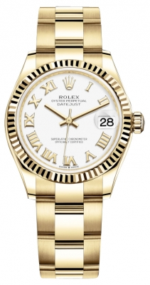 Rolex Datejust 31mm Yellow Gold 278278 White Roman Oyster