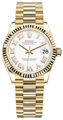 Rolex Datejust 31mm Yellow Gold 278278 White Roman President