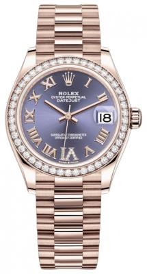 Rolex Datejust 31mm Everose Gold 278285rbr Aubergine VI Roman President