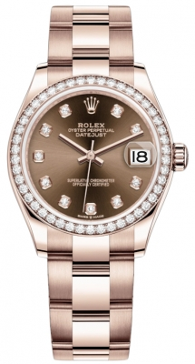 Rolex Datejust 31mm Everose Gold 278285rbr Chocolate Diamond Oyster