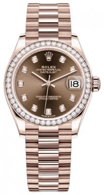 Rolex Datejust 31mm Everose Gold 278285rbr Chocolate Diamond President