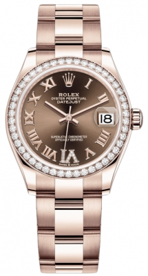Rolex Datejust 31mm Everose Gold 278285rbr Chocolate VI Roman Oyster