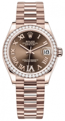 Rolex Datejust 31mm Everose Gold 278285rbr Chocolate VI Roman President
