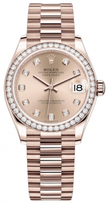 Rolex Datejust 31mm Everose Gold 278285rbr Gold Diamond President