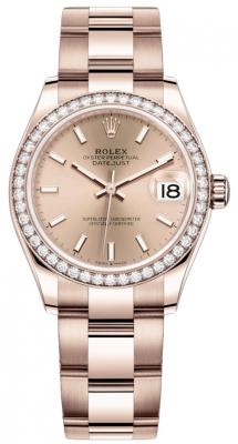 Rolex Datejust 31mm Everose Gold 278285rbr Gold Index Oyster