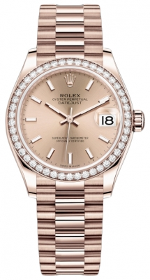 Rolex Datejust 31mm Everose Gold 278285rbr Gold Index President