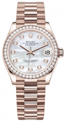 Rolex Datejust 31mm Everose Gold 278285rbr MOP Diamond President