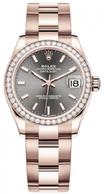 Rolex Datejust 31mm Everose Gold 278285rbr Rhodium Index Oyster