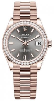 Rolex Datejust 31mm Everose Gold 278285rbr Rhodium Index President