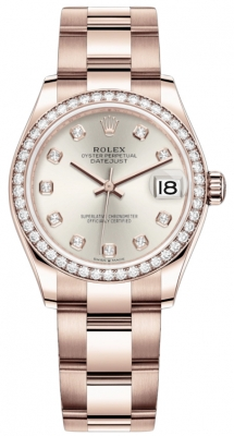 Rolex Datejust 31mm Everose Gold 278285rbr Silver Diamond Oyster