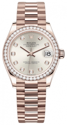 Rolex Datejust 31mm Everose Gold 278285rbr Silver Diamond President