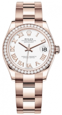 Rolex Datejust 31mm Everose Gold 278285rbr White Roman Oyster