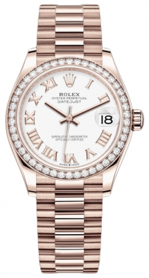 Rolex Datejust 31mm Everose Gold 278285rbr White Roman President
