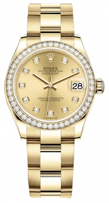 Rolex Datejust 31mm Yellow Gold 278288rbr Champagne Diamond Oyster