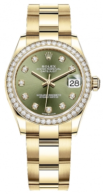 Rolex Datejust 31mm Yellow Gold 278288rbr Green Diamond Oyster