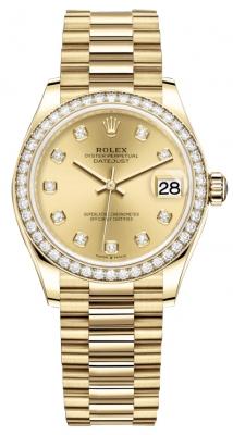 Rolex Datejust 31mm Yellow Gold 278288rbr Champagne Diamond President