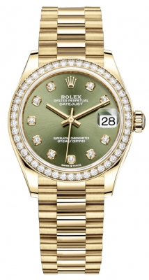 Rolex Datejust 31mm Yellow Gold 278288rbr Green Diamond President