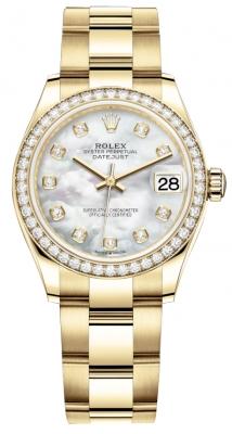 Rolex Datejust 31mm Yellow Gold 278288rbr MOP Diamond Oyster