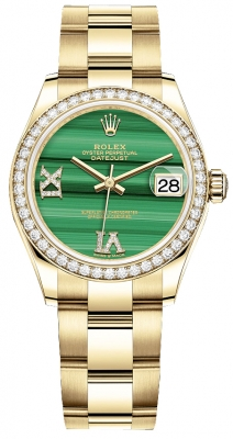 Rolex Datejust 31mm Yellow Gold 278288rbr Malachite Diamond Oyster