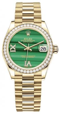 Rolex Datejust 31mm Yellow Gold 278288rbr Malachite Diamond President