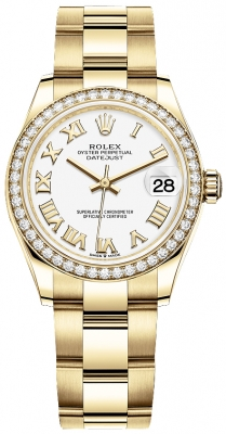 Rolex Datejust 31mm Yellow Gold 278288rbr White Roman Oyster