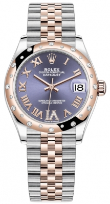 Rolex Datejust 31mm Stainless Steel and Rose Gold 278341rbr Aubergine VI Roman Jubilee
