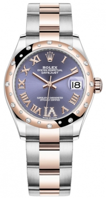 Rolex Datejust 31mm Stainless Steel and Rose Gold 278341rbr Aubergine VI Roman Oyster