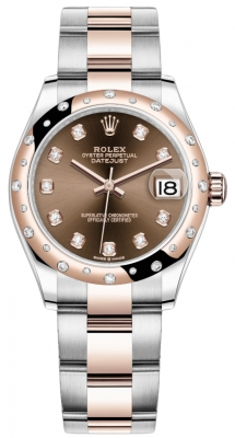 Rolex Datejust 31mm Stainless Steel and Rose Gold 278341rbr Chocolate Diamond Oyster
