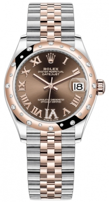 Rolex Datejust 31mm Stainless Steel and Rose Gold 278341rbr Chocolate VI Roman Jubilee