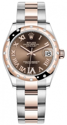 Rolex Datejust 31mm Stainless Steel and Rose Gold 278341rbr Chocolate VI Roman Oyster