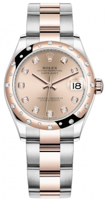 Rolex Datejust 31mm Stainless Steel and Rose Gold 278341rbr Gold Diamond Oyster