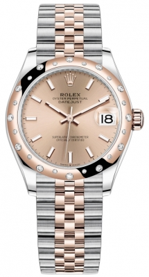 Rolex Datejust 31mm Stainless Steel and Rose Gold 278341rbr Gold Index Jubilee