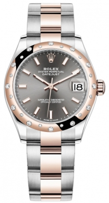 Rolex Datejust 31mm Stainless Steel and Rose Gold 278341rbr Rhodium Index Oyster