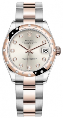 Rolex Datejust 31mm Stainless Steel and Rose Gold 278341rbr Silver Diamond Oyster