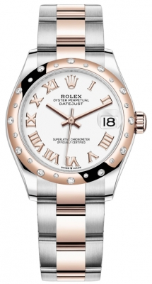 Rolex Datejust 31mm Stainless Steel and Rose Gold 278341rbr White Roman Oyster