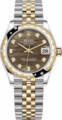 Rolex Datejust 31mm Stainless Steel and Yellow Gold 278343rbr Black MOP Diamond Jubilee