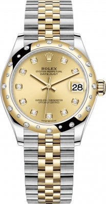 Rolex Datejust 31mm Stainless Steel and Yellow Gold 278343rbr Champagne Diamond Jubilee
