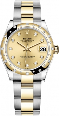 Rolex Datejust 31mm Stainless Steel and Yellow Gold 278343rbr Champagne Diamond Oyster