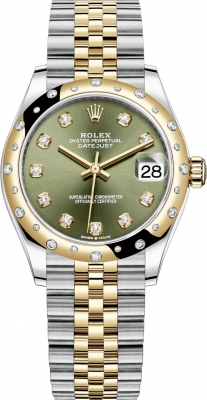 Rolex Datejust 31mm Stainless Steel and Yellow Gold 278343rbr Green Diamond Jubilee