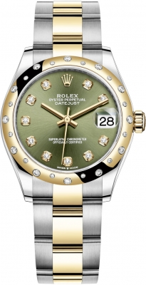 Rolex Datejust 31mm Stainless Steel and Yellow Gold 278343rbr Green Diamond Oyster