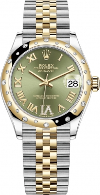 Rolex Datejust 31mm Stainless Steel and Yellow Gold 278343rbr Green VI Roman Jubilee