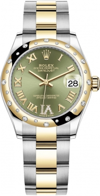 Rolex Datejust 31mm Stainless Steel and Yellow Gold 278343rbr Green VI Roman Oyster