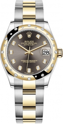 Rolex Datejust 31mm Stainless Steel and Yellow Gold 278343rbr Grey Diamond Oyster
